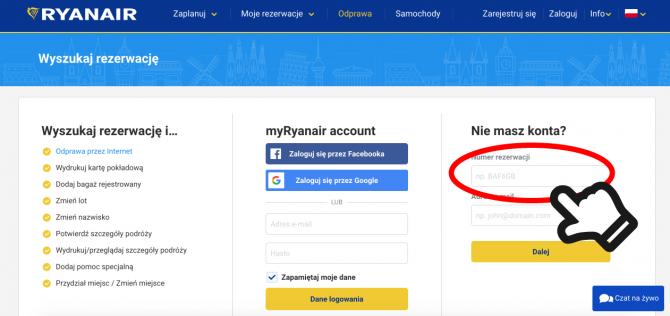 Ryanair rezerwacja